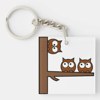 Quirky Owls Round The Bend Single-Sided Square Acrylic Key Ring