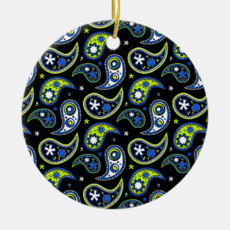 Quirky Paisley Blue and Green Round Ceramic Decoration
