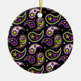 Quirky Paisley Pink and Green Round Ceramic Decoration