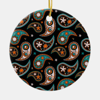 Quirky Paisley Turquoise and Orange Round Ceramic Decoration