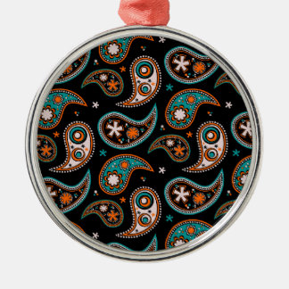 Quirky Paisley Turquoise and Orange Silver-Colored Round Decoration