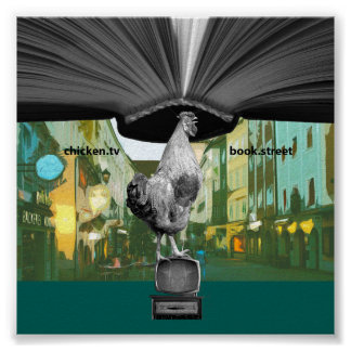 Quirky Poster Wall Decor: Chicken TV Book & Street