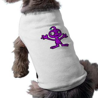 QUIRKY PURPLE ALIEN CARTOON FUNNY SCIENCE-FICTION SLEEVELESS DOG SHIRT