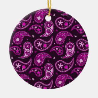 Quirky Purple Paisley Round Ceramic Decoration