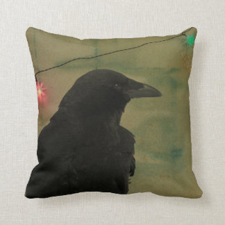 Quirky Raven Art Grunge Cushion