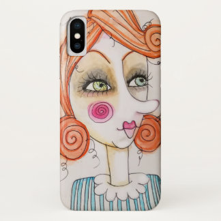 Quirky Red Hair Girl Art Illustration Blue Stripes iPhone X Case