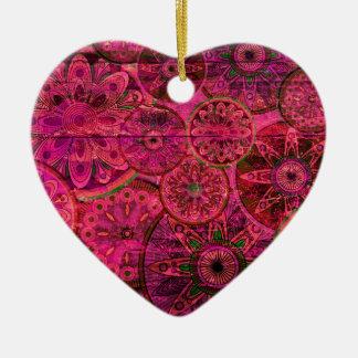 Quirky Retro Shocking Pink Pattern. xo PJ Ceramic Heart Decoration