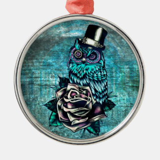 Quirky teal and pink owl with top hat. ornament