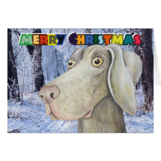 Quirky weimaraner dog christmas card