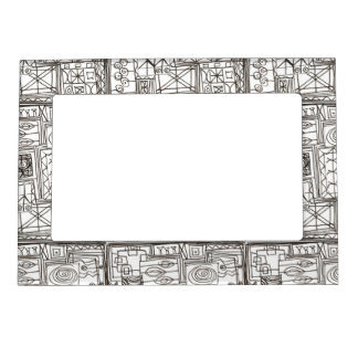 Quirky-Whimsical Abstract Geometric Doodle Magnetic Frame