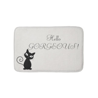 Quirky Whimsical Black Cat Glittery-Hello Gorgeous Bath Mat