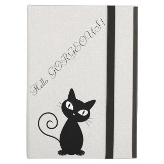 Quirky Whimsical Black Cat Glittery-Hello Gorgeous iPad Air Case