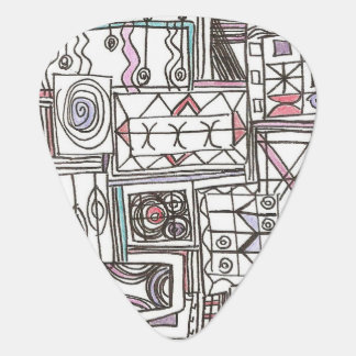 Quirky-Whimsical Geometric Doodle Guitar Pick