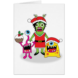 Quirky Xmas Card - Christmas Monsters