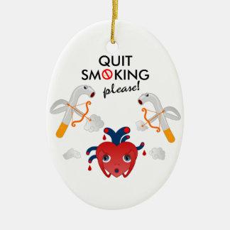 Quit smoking please ceramic ornament