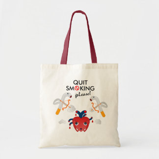 Quit smoking please tote bag