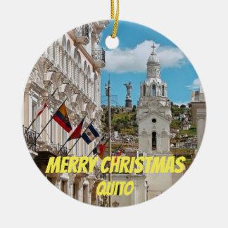 Quito Ecuador Panoramic Christmas Ornamament Ceramic Ornament