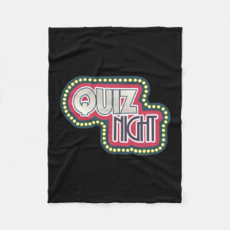 Quiz Night Trivia Party on Black Fleece Blanket