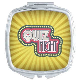 Quiz Night Trivia Party Yellow Sunburst Mirror For Makeup