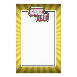 Quiz Night Trivia Party Yellow Sunburst Stationery