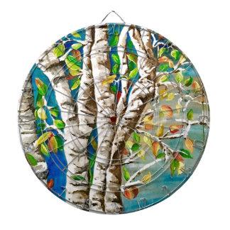 """Autumn Birches"". Acrylics and craft pai Dartboard"