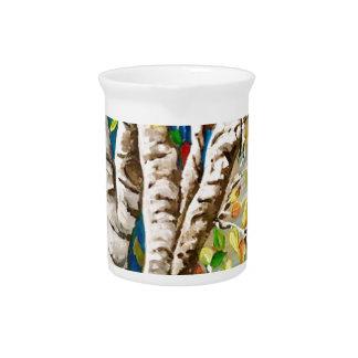 """Autumn Birches"". Acrylics and craft pai Pitcher"
