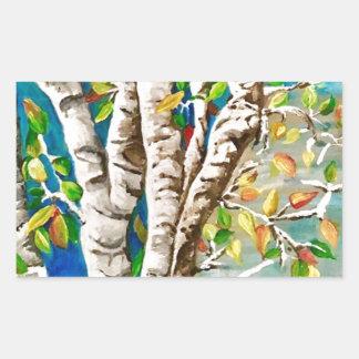 """Autumn Birches"". Acrylics and craft pai Rectangular Sticker"