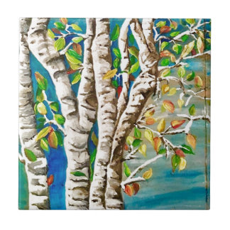 """Autumn Birches"". Acrylics and craft pai Tile"