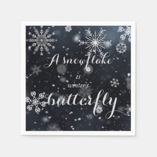 """Quote """"A snowflake is winter's butterfly"""" Disposable Serviette"""
