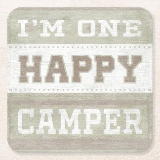 Quote | I'm One Happy Camper Square Paper Coaster