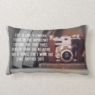 Quote: Life is like a Camera Lumbar Pillow