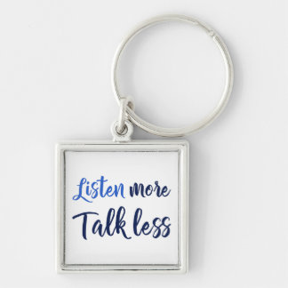 Quote listen more navy script Silver-Colored square key ring