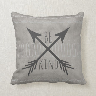 quote pillow distessed gray  be kind