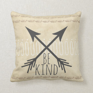 quote pillow distessed sepia and tan with  be kind