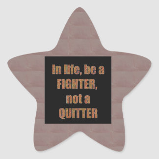 QUOTE Wisdom In life be a FIGHTER not a quitter Stickers