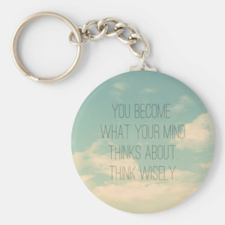 Quotes about the mind Sky and Clouds Vintage Keychain