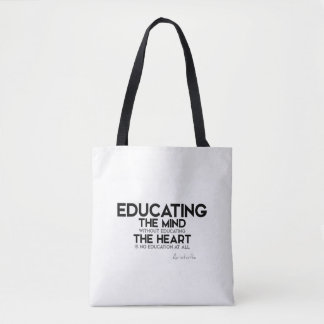 QUOTES: Aristotle: Educating mind, heart Tote Bag