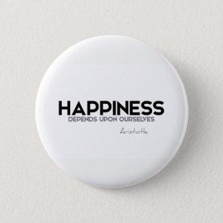 QUOTES: Aristotle: Happiness 6 Cm Round Badge
