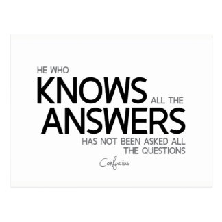 QUOTES: Confucius: Knows all the answers Postcard