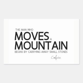 QUOTES: Confucius: Man moves a mountain Rectangular Sticker