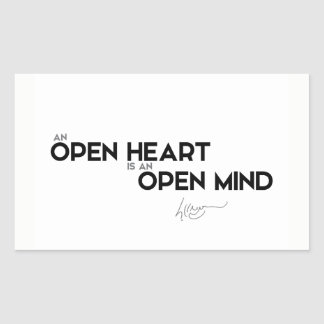 QUOTES: Dalai Lama - Open heart, open mind Rectangular Sticker