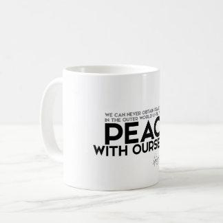 QUOTES: Dalai Lama - Peace with ourselves Coffee Mug
