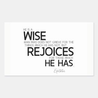 QUOTES: Epictetus: Wise man: rejoices Rectangular Sticker
