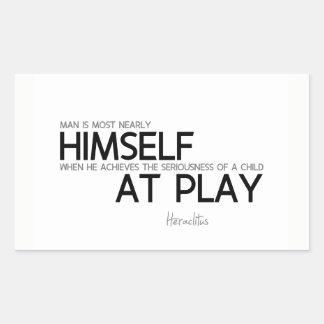 QUOTES: Heraclitus: Child at play Rectangular Sticker