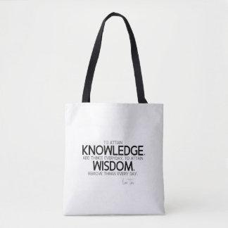 QUOTES: Lao Tzu: Attain knowledge, wisdom Tote Bag