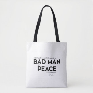 QUOTES: Plato: Bad man at peace Tote Bag