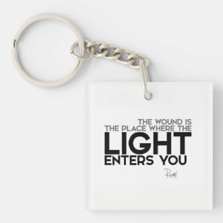 QUOTES: Rumi: Light enters you Key Ring