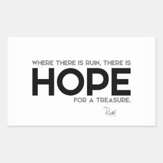 QUOTES: Rumi: Ruin, hope Rectangular Sticker
