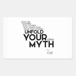 QUOTES: Rumi: Unfold your myth Rectangular Sticker