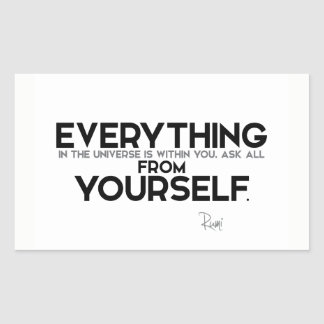 QUOTES: Rumi: Within you Rectangular Sticker